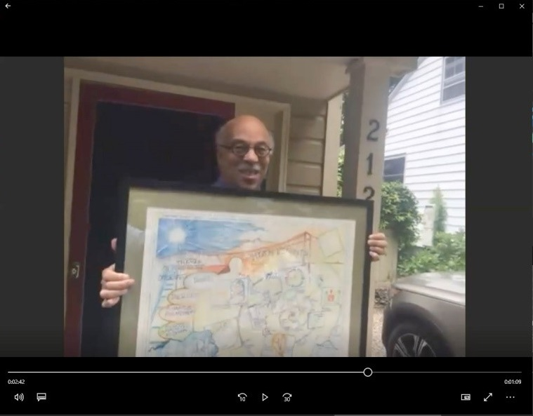Outgoing MDC President, David Dodson, receiving commissioned artwork
